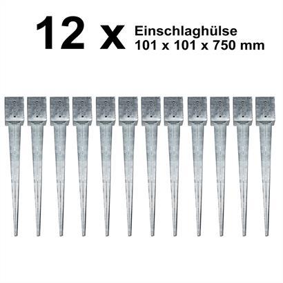 12 Einschlaghülsen Vierkant 101x101x750 mm