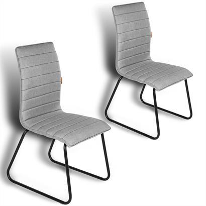 2 Esszimmerstühle mit Stoffbezug hellgrau