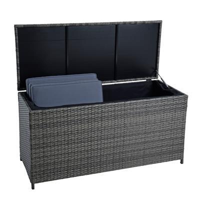Auflagenbox Poly Rattan Kissenbox Gartenbox Aufbewahrungsbox Anthrazit-Grau