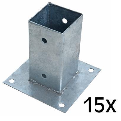 Aufschraubhülse Pfostenhülse 15x Pfostenträger 71 x 150 mm Aufschraubbodenhülse