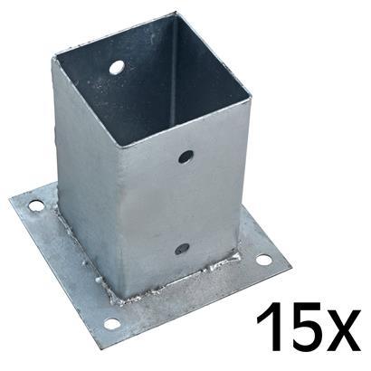 Aufschraubhülse Pfostenhülse 15x Pfostenträger 91 x 150 mm Aufschraubbodenhülse