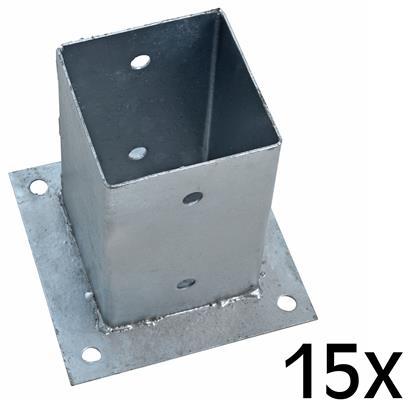 Aufschraubhülse Pfostenhülse 15x Pfostenträger 101 x 150 mm Aufschraubbodenhülse