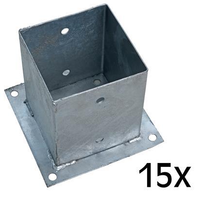 Aufschraubhülse Pfostenhülse 15x Pfostenträger 121 x 150 mm Aufschraubbodenhülse