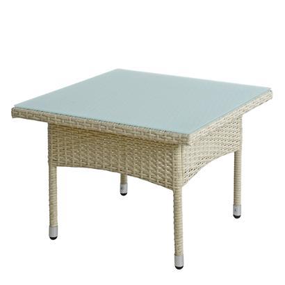 Beistelltisch Tisch Polyrattan Gartentisch Rattantisch Rattan Balkontisch Beige