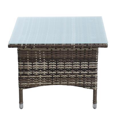 Beistelltisch Tisch Polyrattan Gartentisch Rattan Balkontisch Beige-Braun