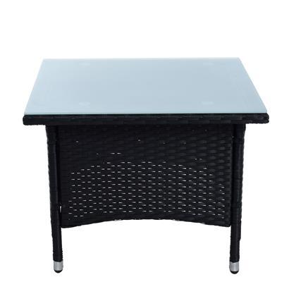 Beistelltisch Tisch Polyrattan Gartentisch Rattan Balkontisch Teetisch Schwarz