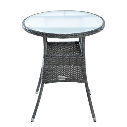 Beistelltisch Tisch Polyrattan Gartentisch Rattan Balkontisch Rund Anthrazit