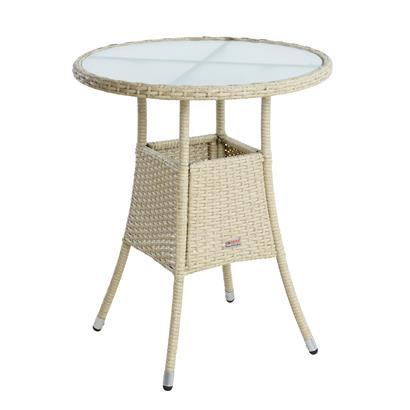 Beistelltisch Tisch Polyrattan Gartentisch Rattan Balkontisch Rund Beige