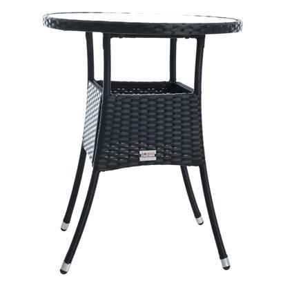 Beistelltisch Tisch Polyrattan Gartentisch Rattan Balkontisch Rund Schwarz