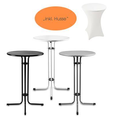 Stehtisch Bistrotisch Tisch Garten Partytisch Gartentisch Set Ø 70 cm inkl. Husse in der Farbe Weiß