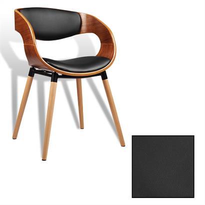 Retro Stuhl aus Walnussfurnier und Kunstleder