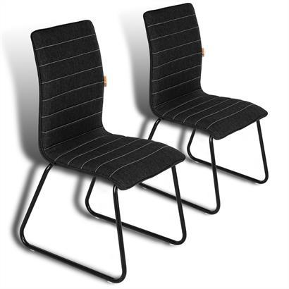 2 Esszimmerstühle mit Stoffbezug schwarz