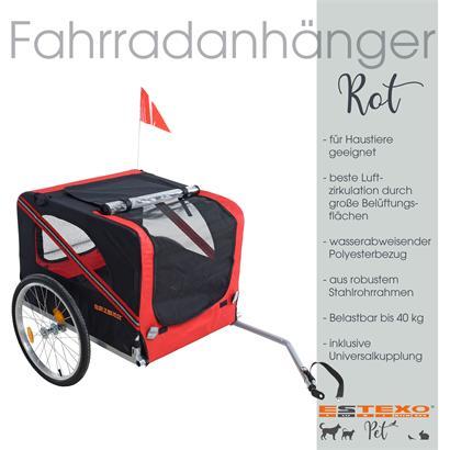 Anhänger Haustieranhänger Fahrradanhänger für Haustiere Hunde Katzen Rot