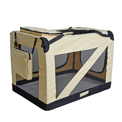 Transportbox Hundebox Faltbox XXXL Transporttasche faltbar Tierbox Hunde Beige