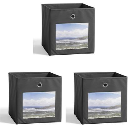 Aufbewahrungsbox Stoff Faltbox 3er Set 32x32 cm Fotofront Stoffbox Anthrazit