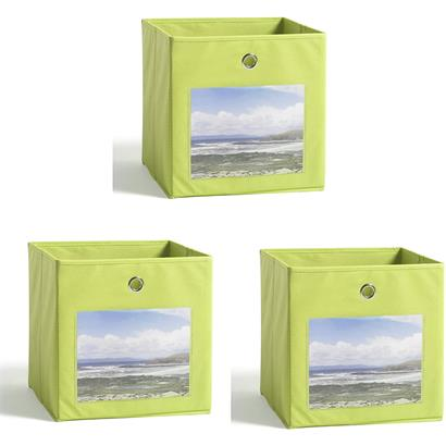 Aufbewahrungsbox Stoff Faltbox 3er Set 32x32 cm Fotofront Stoffbox Apfelgrün