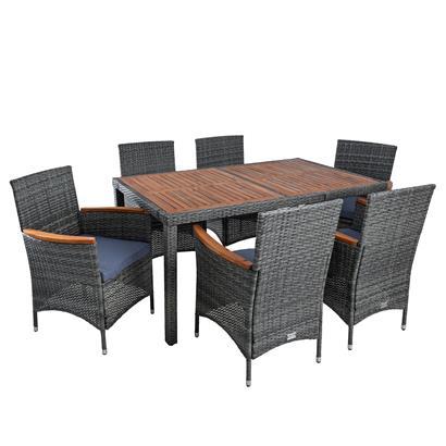 Polyrattan Gartenmöbel Tisch Stühle Rattanmöbel Essgruppe 6 Personen Anthrazit