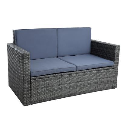 Gartenmöbel Polyrattan Sitzgruppe Lounge Gartensofa Essgruppe Set Anthrazit-Grau