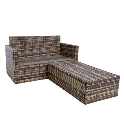 Gartenmöbel Polyrattan Sitzgruppe Lounge Gartensofa Essgruppe Set Beige-Braun