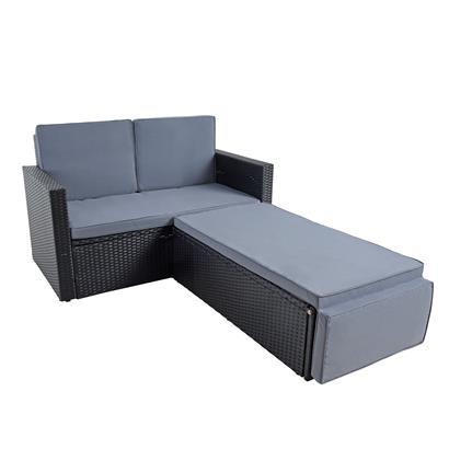 Gartenmöbel Polyrattan Sitzgruppe Lounge Sofa Gartensofa Essgruppe Set Schwarz