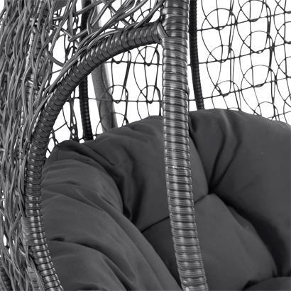 Hängesessel Hängekorb Poly Rattan mit Gestell 2-Sitzer Schaukel Korb Anthrazit