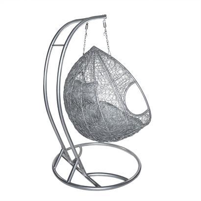 Polyrattan Hängesessel 2-Sitzer grau-silber