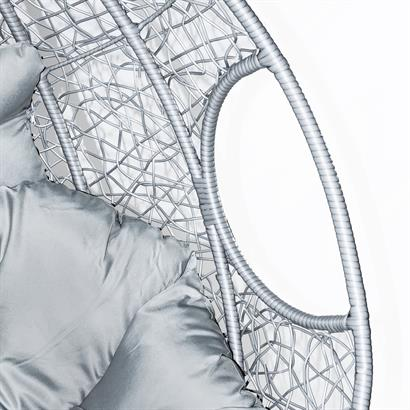 Rattan Hängesessel 2-Sitzer grau-silber