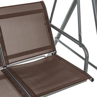 Hollywoodschaukel 3-Sitzer mit Dach, braun