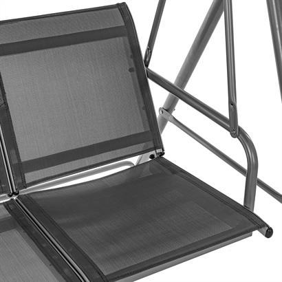 Hollywoodschaukel 3-Sitzer mit Dach, grau
