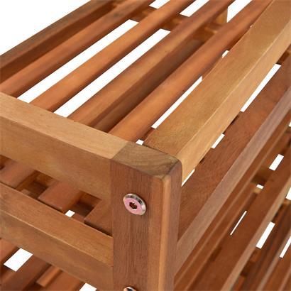 Holz Schuhregal Schuhschrank stabil 5 Etagen mit Haken zum Aufhängen Schuhablage 64x26x82 cm