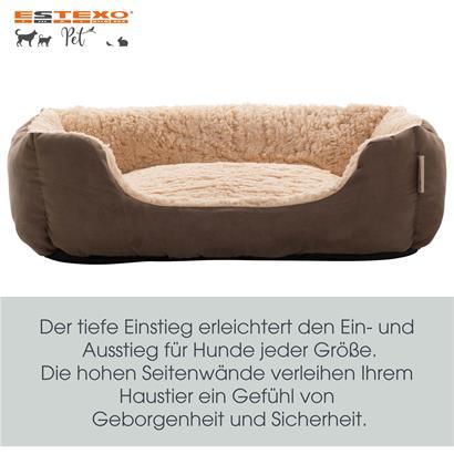 Hundebett Hundekissen Hundekorb Haustierbett Hundesofa Decke Dunkelbraun/Beige