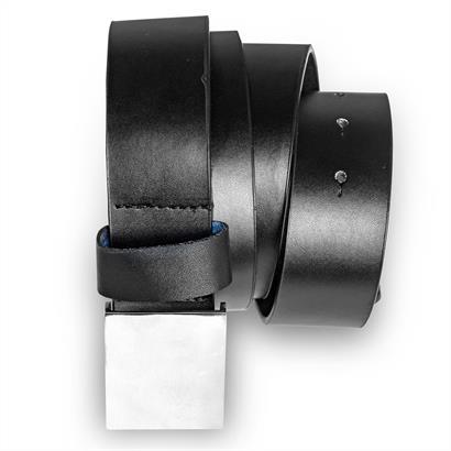 Ledergürtel schwarz mit Silberschnalle