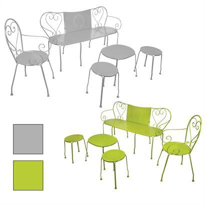 Gartenmöbel Set 5teilig Metall Gartenbank grün von Esschert Design