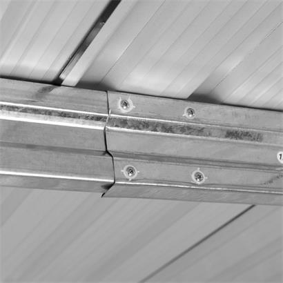 Geräteschuppen Gerätehaus Gartenhaus 257x312x192 cm Metall Fundament Hellgrau