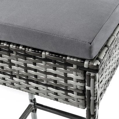 ESTEXO® Rattan Bar mit 6 Barhockern grau
