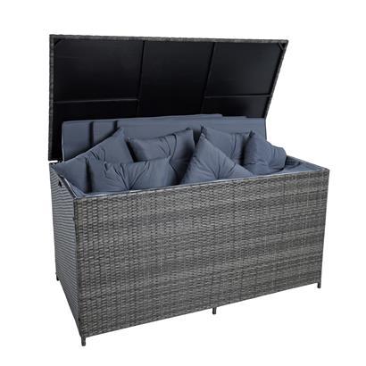 Auflagenbox Poly Rattan XXL Kissenbox Gartenbox Aufbewahrungsbox Anthrazit-Grau