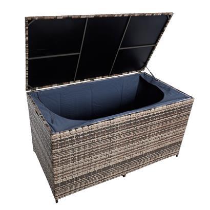 Auflagenbox Poly Rattan XXL Kissenbox Gartenbox Aufbewahrungsbox Beige-Braun