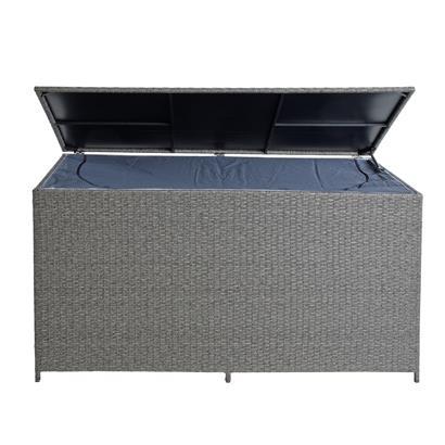 Auflagenbox Poly Rattan XXL Kissenbox Gartenbox Aufbewahrungsbox Grau-Mix
