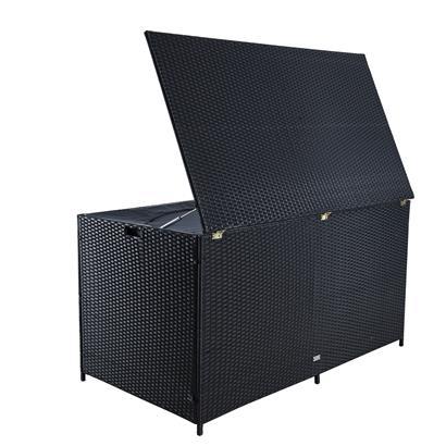 Auflagenbox Poly Rattan XXL Kissenbox Gartenbox Box Aufbewahrungsbox Schwarz