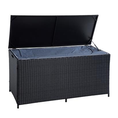 Auflagenbox Poly Rattan Kissenbox Gartenbox Aufbewahrungsbox Schwarz