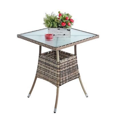 Polyrattan Balkontisch Rattan Tisch Beistelltisch Gartentisch 60 cm Beige-Braun