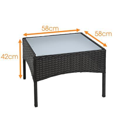 Polyrattan Beistelltisch Rattan Tisch Gartentisch Balkontisch Loungetisch Möbel Schwarz