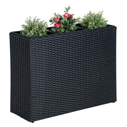 Polyrattan Hochbeet Blumenkübel Pflanzkübel Rattan Blumentopf Set Schwarz