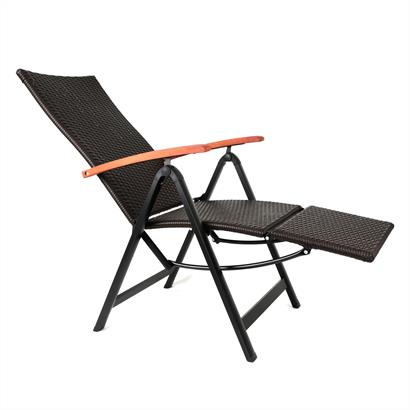 Rattan Liegestuhl mit Alugestell und Fußteil