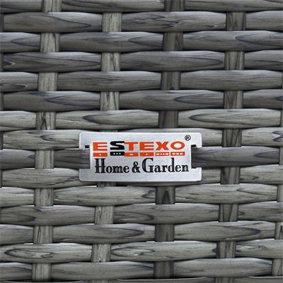 Gartenbank Rattan Gartenmöbel 2-Sitzer Rattanmöbel Sitzbank mit Sitzkissen Grau