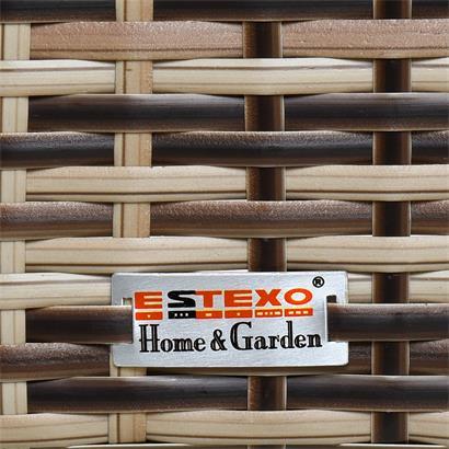 Gartenbank Rattan Gartenmöbel 2-Sitzer Rattanmöbel Sitzbank Sitzkissen Braun