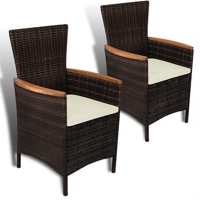 Polyrattan Sessel mit Armlehne 2er Set