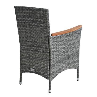 Rattan Gartensessel Polyrattan Stuhl Gartenstuhl 2er Set Akazie Holz Anthrazit