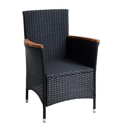 Polyrattan Gartenmöbel Tisch Stühle Rattanmöbel Essgruppe 6 Personen Schwarz