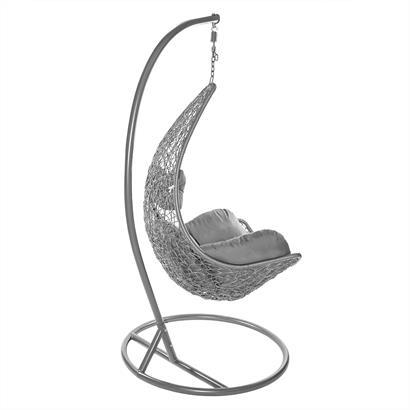 Rattan Hängesessel mit Gestell Einsitzer grau-silber